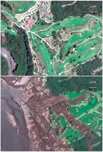 (Satellite Image ©2018 DigitalGlobe, a Maxar company via AP). This combo of two satellite images provided by Digital Globe shows La Reunion Golf Resort pictured on April 7, 2017, top, and the same area encased in volcanic ash on June 6, 2018, three day...