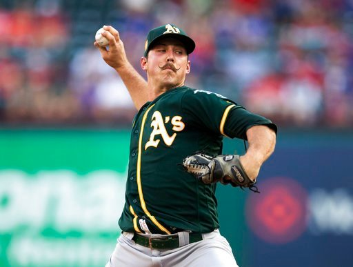 (AP Photo/Jim Cowsert). Oakland Athletics starting pitcher Daniel Mengden throws to a Texas Rangers batter during the first inning of a baseball game Wednesday, June 6, 2018, in Arlington, Texas.