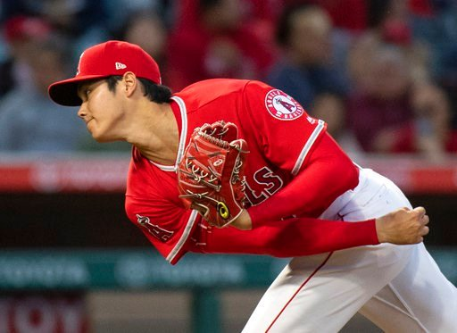 (AP Photo/Kyusung Gong). Los Angeles Angels starting pitcher Shohei Ohtani watches a pitch during the third inning of a baseball game against the Kansas City Royals in Anaheim, Calif., Wednesday, June 6, 2018.