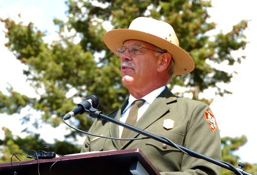 (AP Photo/Matthew Brown, File). This August 17, 2017 file photo shows Yellowstone Superintendent Dan Wenk speaking at an event marking a conservation agreement for a former mining site just north of the park in Jardine, Mont. Wenk on Friday, June 1, 20...