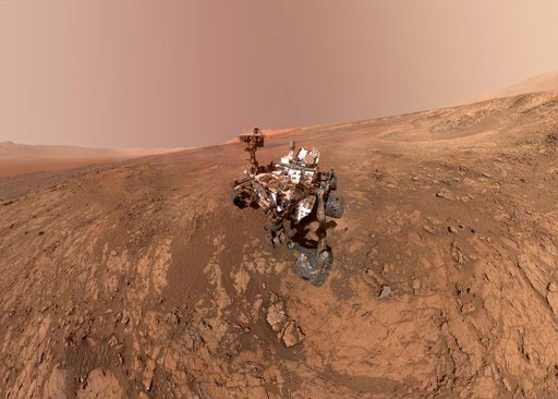 (NASA/JPL-Caltech/MSSS via AP). FILE - This composite image made from a series of Jan. 23, 2018 photos shows a self-portrait of NASA's Curiosity Mars rover on Vera Rubin Ridge. On Thursday, June 7, 2018, scientists said the rover found potential buildi...