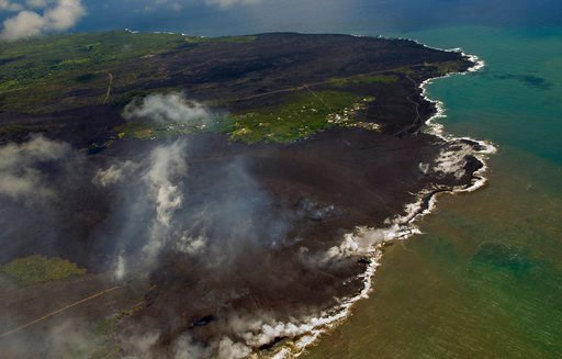 (AP Photo/LE Baskow). Most of the Kapoho area is now covered in fresh lava as the Kilauea Volcano lower east rift zone eruption continues on Wednesday, June 6, 2018, in Pahoa, Hawaii.