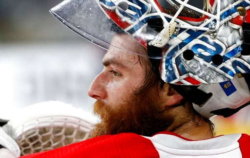 (AP Photo/Ross D. Franklin). Washington Capitals goaltender Braden Holtby pauses during an NHL hockey practice Wednesday, June 6, 2018, in Las Vegas. The Capitals lead the Vegas Golden Knights 3-1 in the best-of-seven Stanley Cup Finals series.
