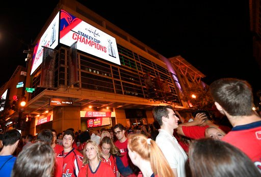 (AP Photo/Nick Wass). Washington Capitals fans clog the streets outside Capital One Arena in Washington after Game 5 of the NHL hockey Stanley Cup Final between the Capitals and the Vegas Golden Knights in Las Vegas, Thursday, June 7, 2018. The Capital...