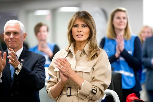 (AP Photo/Andrew Harnik). First lady Melania Trump, center, accompanied by Vice President Mike Pence, left, applauds as President Donald Trump speaks to employees at the Federal Emergency Management Agency Headquarters, Wednesday, June 6, 2018, in Wash...