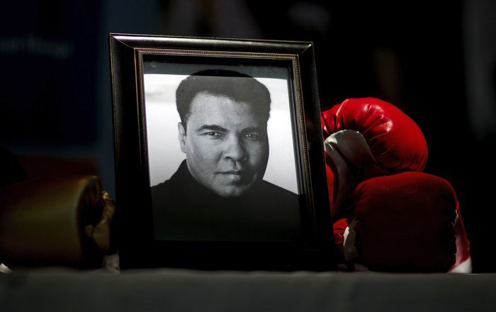 President Donald Trump says he may pardon another late heavyweight boxing champion - this time Muhammad Ali. (AP Photo/David Goldman)