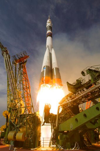 (Joel Kowsky/NASA via AP). In this image released by NASA, the Soyuz-FG rocket booster with Soyuz MS-09 space ship carrying a new crew to the International Space Station, ISS, blasts off at the Russian leased Baikonur cosmodrome, Kazakhstan, Wednesday,...