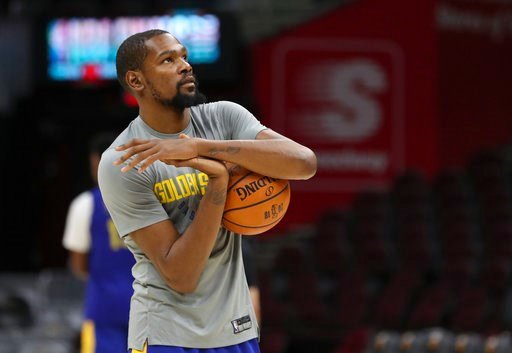 (AP Photo/Carlos Osorio). Golden State Warriors forward Kevin Durant (35) warms up as the basketball team's practiced during the NBA Finals, Wednesday, June 7, 2018, in Cleveland. The Warriors lead the series 3-0 with Game 4 on Thursday.