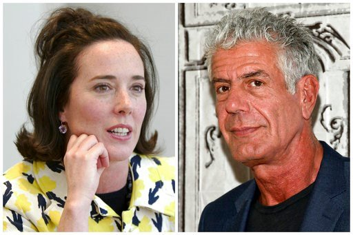 (AP Photo/Bebeto Matthews, Andy Kropa/Invision). This combination of 2004 and 2016 file photos shows fashion designer Kate Spade and chef Anthony Bourdain in New York. A U.S. report released in June 2018 found an uptick in suicide rates in nearly every...