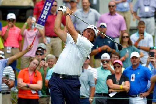 (Brandon Dill/The Commercial Appeal via AP). Phil Mickelson tees off from the first hole during the second round of the St. Jude Classic golf tournament at TPC Southwind on Friday, June 8, 2018, in Memphis, Tenn.