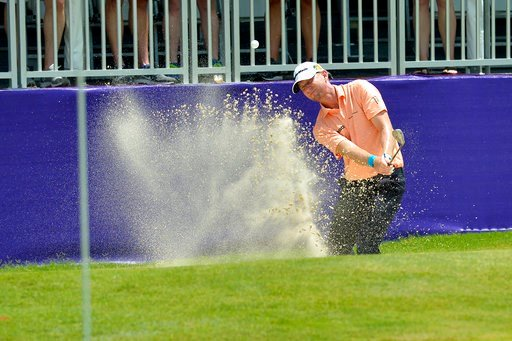 (Brandon Dill/The Commercial Appeal via AP). Vaughn Taylor hits from a bunker on the 18th hole during the second round of the St. Jude Classic golf tournament at TPC Southwind on Friday, June 8, 2018, in Memphis, Tenn.