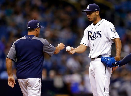 (AP Photo/Chris O'Meara). Tampa Bay Rays pitcher Wilmer Font, right, hands the ball to manager Kevin Cash as he is taken out of the game against the Seattle Mariners during the third inning of a baseball game Friday, June 8, 2018, in St. Petersburg, Fla.