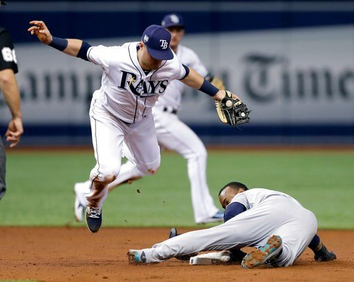(AP Photo/Chris O'Meara). Seattle Mariners' Jean Segura steals second base as Tampa Bay Rays second baseman Christian Arroyo is late with the tag during the third inning of a baseball game Friday, June 8, 2018, in St. Petersburg, Fla.