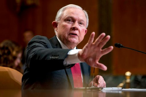 (AP Photo/Andrew Harnik, File). FILE - In this April 25, 2018, file photo, Attorney General Jeff Sessions speaks on Capitol Hill in Washington. The Trump administration said in a court filing late Thursday that it will no longer defend key parts of the...