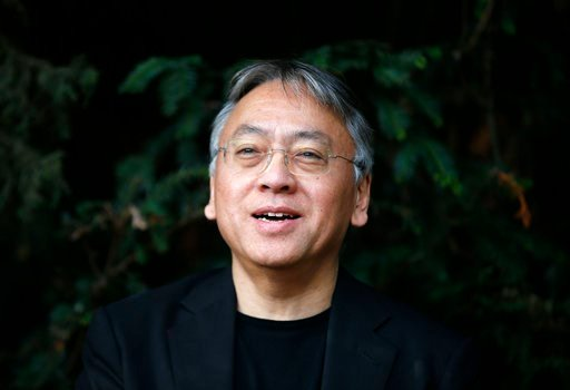 (AP Photo/Alastair Grant, file). FILE - In this Thursday Oct. 5, 2017 file photo, British novelist Kazuo Ishiguro speaks during a press conference at his home in London. British actors Emma Thompson, Keira Knightley and Tom Hardy and Nobel Prizewinning...