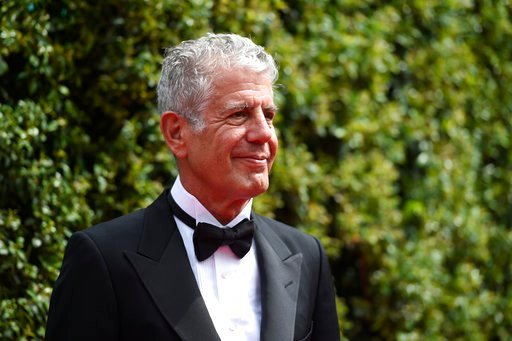 (Photo by Chris Pizzello/Invision/AP). FILE - In this Saturday, Sept. 12, 2015 file photo, Anthony Bourdain arrives at the Creative Arts Emmy Awards in Los Angeles. On Friday, June 8, 2018, Bourdain was found dead in his hotel room in France, while wor...