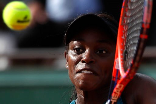 (AP Photo/Alessandra Tarantino). Sloane Stephens of the U.S. returns a shot against Madison Keys of the U.S. during their semifinal match of the French Open tennis tournament at the Roland Garros stadium in Paris, France, Thursday, June 7, 2018.