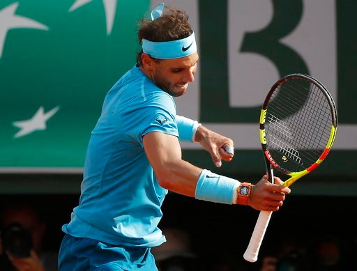 (AP Photo/Michel Euler). Spain's Rafael Nadal celebrates winning his semifinal match of the French Open tennis tournament against Argentina's Juan Martin del Potro in three sets 6-4, 6-1, 6-2, at the Roland Garros stadium in Paris, France, Friday, June...
