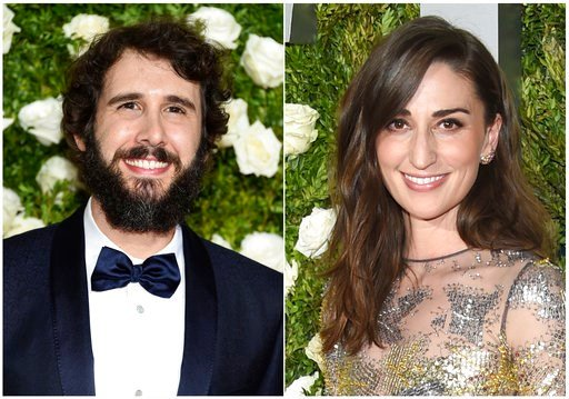 (Photo by Evan Agostini/Invision/AP). In this combination photo, Josh Groban, left, and Sara Bareilles arrive at the 71st annual Tony Awards in New York.