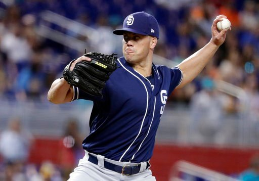 (AP Photo/Lynne Sladky). San Diego Padres starting pitcher Clayton Richard delivers during the first inning of a baseball game against the Miami Marlins, Sunday, June 10, 2018, in Miami.