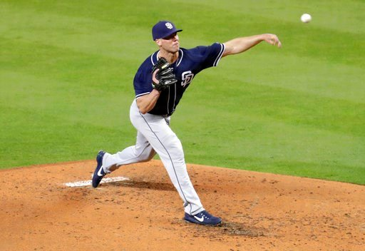 (AP Photo/Lynne Sladky). San Diego Padres starting pitcher Clayton Richard delivers during the fourth inning of a baseball game against the Miami Marlins, Sunday, June 10, 2018, in Miami.
