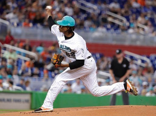 (AP Photo/Lynne Sladky). Miami Marlins starting pitcher Jose Urena delivers during the first inning of a baseball game against the San Diego Padres, Sunday, June 10, 2018, in Miami.