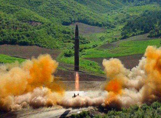 (Korean Central News Agency/Korea News Service via AP, File). This file photo distributed July 4, 2017, by the North Korean government shows what was said to be the launch of a Hwasong-14 intercontinental ballistic missile, ICBM, in North Korea.