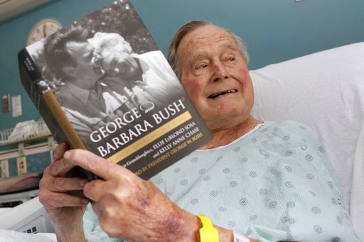 (Paul Morse/Office of George H. W. Bush via AP, File). This file photo provided by Office of George H. W. Bush shows a photo of former President George H.W. Bush that was tweeted on Friday, June 1, 2018, from his hospital bed.