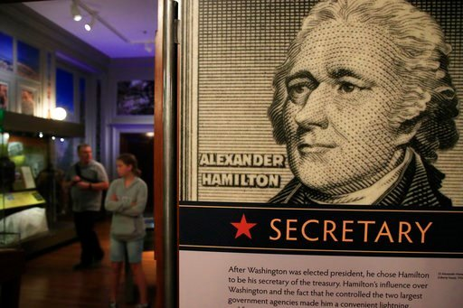 "(AP Photo/Manuel Balce Ceneta). Alexander Hamilton exhibit called ""Alexander Hamilton: Soldier, Secretary, Icon,"" that include mail, portraits, and postage and revenue stamps reflective of Hamilton's life and career, at Smithsonian National Postal Muse..."