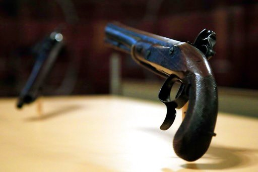 (AP Photo/Manuel Balce Ceneta). The original flintlock pistols made of walnut, brass and gold that were used in the July 11, 1804 duel with then-Vice President Aaron Burr, which resulted in the death of former secretary of treasury and a retired two-st...