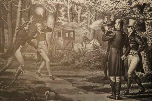 (AP Photo/Manuel Balce Ceneta). The Alexander Hamilton exhibit at Smithsonian National Postal Museum in Washington, Monday, June 11, 2018, displays an image of the then-Vice President Aaron Burr and Hamilton duel at Weehawken, New Jersey, July 11, 1804...