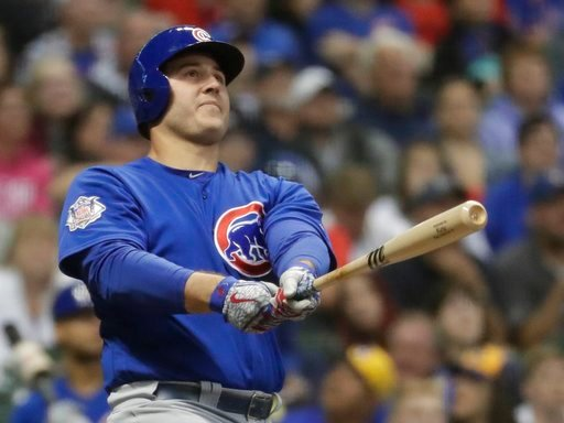 (AP Photo/Morry Gash). Chicago Cubs' Anthony Rizzo hits a home run during the 11th inning of a baseball game against the Milwaukee Brewers Monday, June 11, 2018, in Milwaukee.