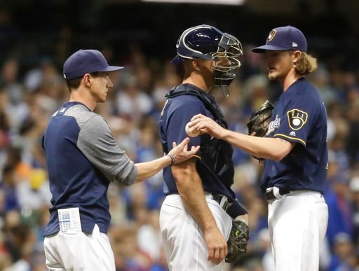 (AP Photo/Morry Gash). Milwaukee Brewers relief pitcher Josh Hader is taken out of the game during the eighth inning of a baseball game against the Chicago Cubs Monday, June 11, 2018, in Milwaukee.