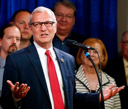 (AP Photo/Charles Rex Arbogast File). In this May 26, 2016, file photo, North Dakota state Rep. Kevin Cramer, R-N.D, speaks in Bismarck, N.D.