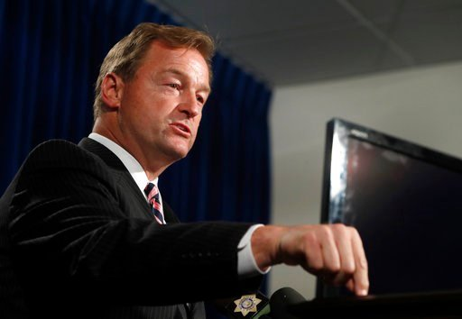 (Steve Marcus/Las Vegas Sun via AP, File). In this Oct. 4, 2017, file photo, Sen. Dean Heller, R-Nev, speaks during a media briefing at Metro Police headquarters in Las Vegas.