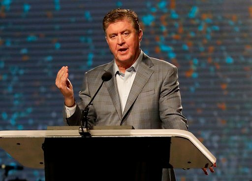 (AP Photo/Matt York, File). In this June 13, 2017, file photo, the Southern Baptist Convention President Steve Gaines gives the president's address during the SBC annual meeting in Phoenix.