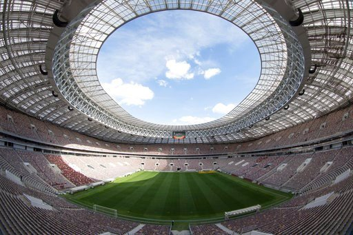 (AP Photo/Denis Tyrin, File). FILE - This June 28, 2017, file photo shows the refurbished Luzhniki stadium in Moscow, Russia, where the opening match and final of the World Cup will be played when the soccer world gathers at 12 stadiums in 11 cities ac...