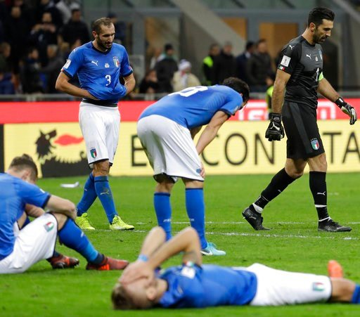 (AP Photo/Luca Bruno, File). FILE - In this Nov. 13, 2017, file photo, Italian players react to their elimination at the end of the World Cup qualifying play-off second leg soccer match againstd Sweden, in Milan, Italy. Four-time champion Italy will be...