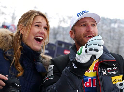 (AP Photo/Giovanni Auletta, File). FILE - In this Jan. 25, 2014 file photo, Bode Miller and his wife Morgan smile at the men's World Cup downhill in Kitzbuehel, Austria. Authorities reported Monday, June 11, 2018, that the couple's 19-month-old daughte...