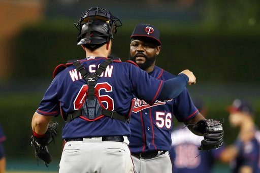 (AP Photo/Carlos Osorio). Minnesota Twins relief pitcher Fernando Rodney (56) hugs catcher Bobby Wilson after the Twins' 6-4 win over the Detroit Tigers in a baseball game Tuesday, June 12, 2018, in Detroit.