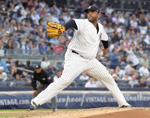 (AP Photo/Bill Kostroun). New York Yankees pitcher CC Sabathia delivers the ball to a Washington Nationals batter during the third inning of a baseball game Tuesday, June 12, 2018, at Yankee Stadium in New York.