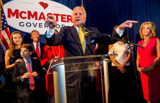 (Jeff Blake/The State via AP). South Carolina Gov. Henry McMaster speaks at his election night party at Vista Union Tuesday, June 12, 2018 in Columbia, S.C. McMaster was forced into a runoff for the Republican gubernatorial nomination. He  was the top ...