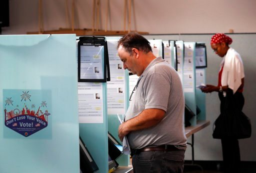 "(Steve Marcus/Las Vegas Sun via AP). Wayne Freeman votes in the primary election at the Green Valley Presbyterian Church in Henderson, Nev., Tuesday, June 12, 2018. Officials reported ""isolated"" primary voting glitches Tuesday involving the state's new..."