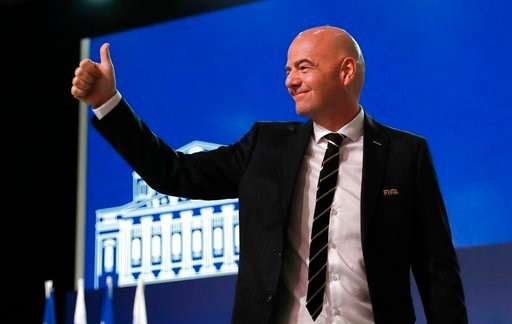 (AP Photo/Pavel Golovkin). FIFA President Gianni Infantino arrives at the FIFA congress on the eve of the opener of the 2018 soccer World Cup in Moscow, Russia, Wednesday, June 13, 2018.