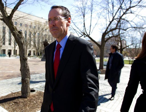 (AP Photo/Jose Luis Magana, File). FILE- In this March 22, 2018, file photo, AT&T CEO Randall Stephenson leaves the federal courthouse in Washington. The judge presiding over the government's legal effort to block AT&T's purchase of Time Warner...