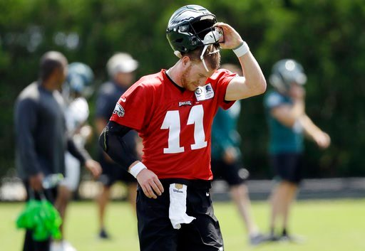 (AP Photo/Matt Slocum, File). FILE - In this Thursday, June 7, 2018, file photo, Philadelphia Eagles' Carson Wentz runs a drill during an organized team activity at the NFL football team's practice facility in Philadelphia. Wentz was having an MVP seas...