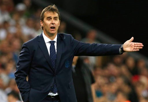 (AP Photo/File). FILE - In this June 9, 2018 file photo, Spain's national soccer team coach Julen Lopetegui shouts during a friendly soccer match between Spain and Tunisia in Krasnodar, Russia. Real Madrid said on Tuesday June 12, 2018 that Spain coach...
