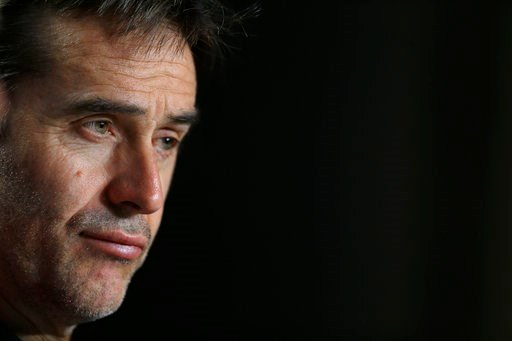 (AP Photo/Francisco Seco, File). FILE - In this March 26, 2018 file photo, Spain's national soccer team coach Julen Lopetegui listens to a question during a news conference at the Wanda Metropolitano stadium in Madrid, Spain. Real Madrid said on Tuesda...