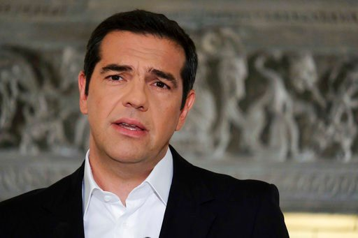 (Andrea Bonetti/Greek Prime Minister's Office via AP). CORRECTS TO NORTH MACEDONIA, NOT NORTHERN - In this photo released by Greek Prime Minister's office, Greek Prime Minister Alexis Tsipras speaks during a televised address to the nation, in Athens, ...