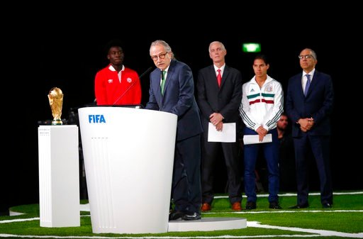 (AP Photo/Alexander Zemlianichenko). Decio de Maria, President of the Football Association of Mexico, speaks at the FIFA congress on the eve of the opener of the 2018 soccer World Cup in Moscow, Russia, Wednesday, June 13, 2018. The congress in Moscow ...